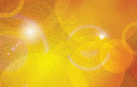 astral: Golden futuristic astral abstract vector background template. Orange yellow decoration horizontal layout. Illustration