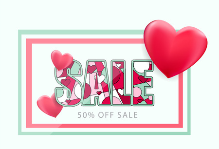 SALE card with heart symbols. Clearance promotion marketing discount card template vector illustration.