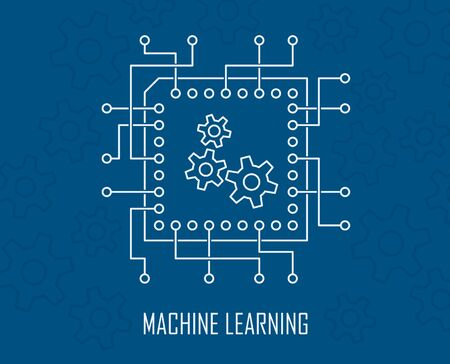 Machine learning modern artificial intelligence engineering technology concept with intergrated circuit and gears vector illustration.