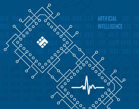 Concepto de tecnología moderna de inteligencia artificial con fondo de alta tecnología industrial del procesador de CPU integrado. Ilustración vectorial