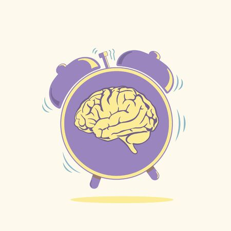 Human brain with alarmclock symbol vector illustration. Modern lifestyle concept. Healthcare issues symbolic image. Vecteurs
