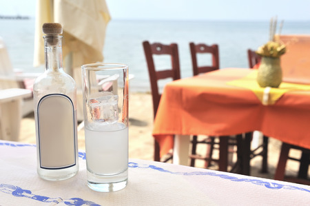 Traditional Greek ouzo  Stock Photo