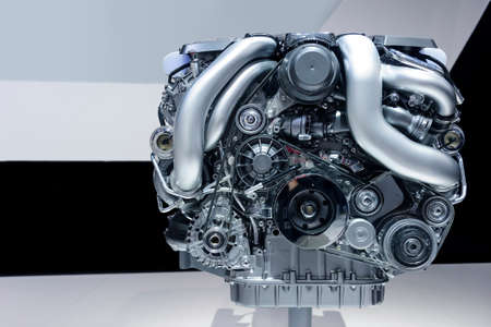 Car engine, concept of modern powerful automobile motor with metal, chrome, plastic parts, white, grey, black lines pattern on background
