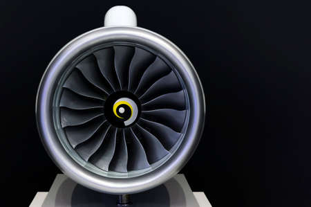 Jet engine turbine blades of plane, aircraft concept, aviation and aerospace industry, isolated on black background