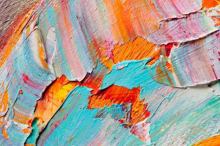 Gamma di colori dell'artista con i colori misti olio, macro, texture colorate corsa su tela, girato in studio, arte astratta sfondo Archivio Fotografico - 51437158