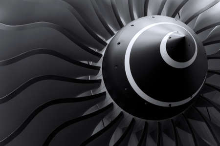 Turbine blades of turbo jet engine for passenger plane, aircraft concept, aviation and aerospace industry Stockfoto
