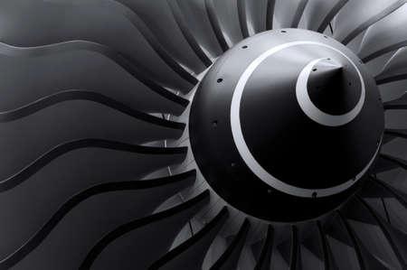 Turbinenschaufeln von Turbostrahltriebwerk für Passagierflugzeug, Flugzeug Konzept, Luft- und Raumfahrtindustrie Standard-Bild
