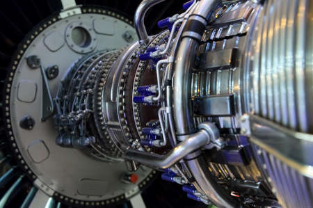 Jet engine, internal structure with hydraulic, fuel pipes and other hardware and equipment, aviation, aircraft and aerospace industry Banque d'images