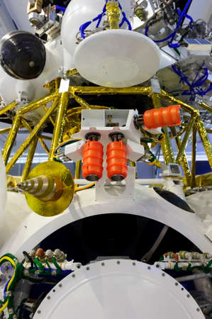 aerospace industry: Spaceship module, orbital spacecraft with satellite, solar panel and opened hatch, modern aerospace industry Stock Photo