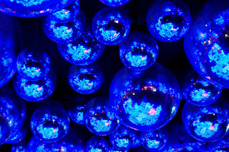 Nightclub blue disco balls and neon party lights in dance club, nightlife entertainment industry