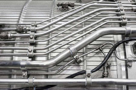hydraulic hoses: Engine of fighter jet, internal structure with hydraulic, fuel pipes and other hardware and equipment, army aviation, military aircraft and aerospace industry