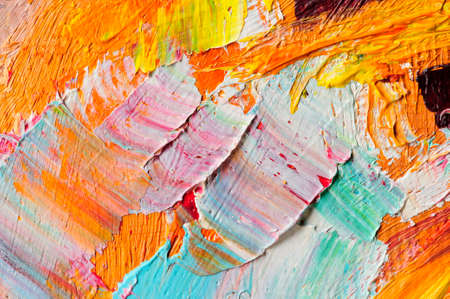 Oil paints mixed on canvas, artists palette, material texture, studio shot, colorful abstract art background Stock Photo