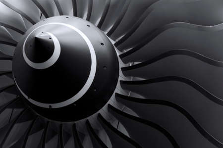 Turbine blades of turbo jet engine for passenger plane, aircraft concept, aviation and aerospace industry Stock Photo