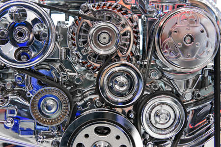 Car engine, concept of modern automobile motor with metal, chrome, plastic parts Stock Photo