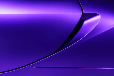 bodywork: Bodywork of lilac sedan, surface of sport car door and handle in ultramodern style, detail of concept racing vehicle Stock Photo