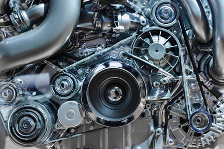 Car engine, concept of modern vehicle motor with metal, chrome, plastic parts, heavy industry 写真素材