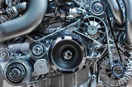 Moteur de voiture, concept de moteur de véhicule moderne avec métal, chrome, pièces en plastique, industrie lourde Banque d'images