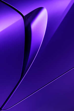 specular: Bodywork of lilac sedan, surface of sport car door and handle in ultramodern style, detail of concept racing vehicle Stock Photo