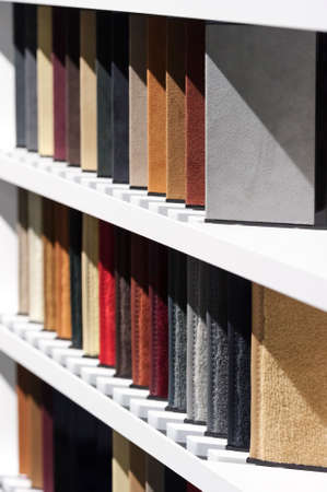 leatherette: Fabric samples, upholstery and carpet textile examples for car interior Stock Photo