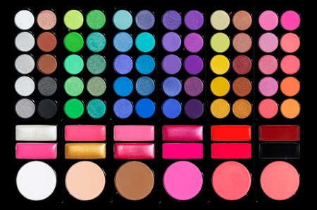 Professional cosmetic, set of colorful eyeshadows, powder, ruddy in black palette, makeup accessory