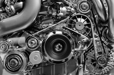 custom car: Car engine, concept of modern vehicle with metal, chrome details, automobile industry, monochrome