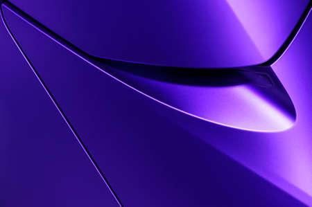 Bodywork of violet sedan, surface of sport car door and handle in ultramodern style, detail of concept racing vehicle