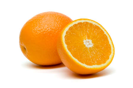 Orange, whole exotic tropical fruit with slice isolated on white background, healthy food, diet nutrition