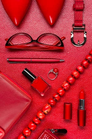 Woman red accessories, jewelry, shoes, cosmetic and other luxury objects on leather background, fashion industry, modern female concept Stok Fotoğraf