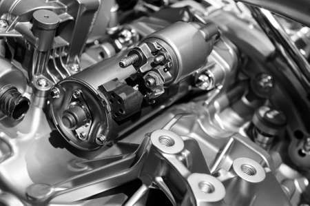 Car engine, concept of modern vehicle motor with metal and chrome details, automobile industry, monochrome shot, selective focus