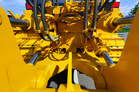 Piston system with hydraulics for bulldozers, tractors, excavators and other construction machines, heavy industry, detail 写真素材