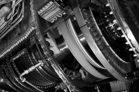 Jet engine, internal structure with hydraulic, fuel pipes and other equipment, aviation, aircraft and aerospace industry, monochrome shot, selective focus 写真素材