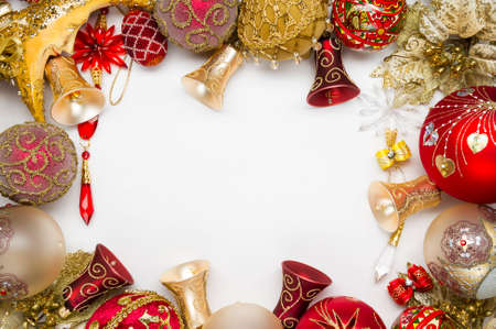 Christmas decorations ornament, new year toys of red and gold colors on white background, xmas winter holidays and celebrations concept 写真素材