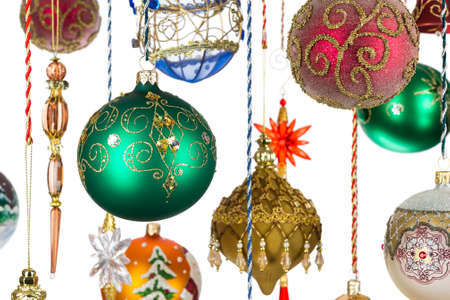 Christmas tree decoration, balls, bells, icicles and other new year toys on white background, winter holidays and celebrations, selective focus