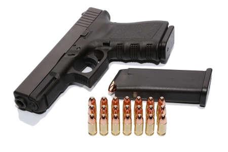 Gun with magazine and ammo photo