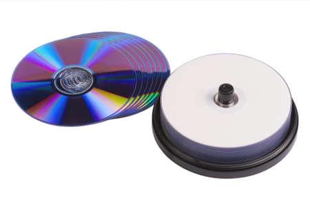 writable: some blank writable DVD discs on white background
