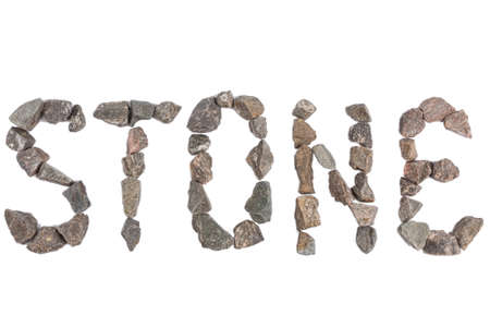 word stone made with small rocks on white background Stock Photo