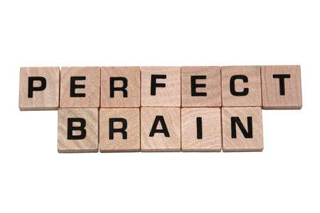 木製ゲーム タイルで作られたフレーズを完璧な脳 写真素材