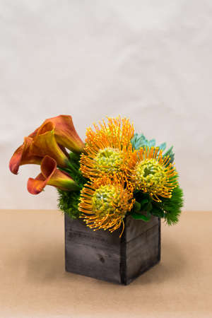 Floral arangement with Mango Calla Lilies, Dianthus Green Trick, Protea yellow pin cushion, succulent and greenery in square wooden vase photo