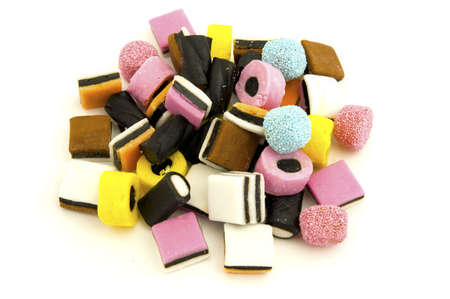 Liquorice sweets against white background
