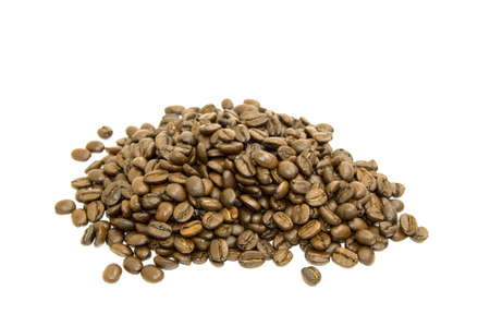 Coffee beans in a heap isolated on white background