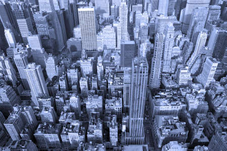 Manhatten in blue from the Empire State Building