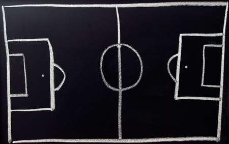 Hand Drawn Chalk Football Pitch on a Blackboard