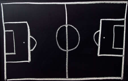 football pitch: Hand Drawn Chalk Football Pitch on a Blackboard