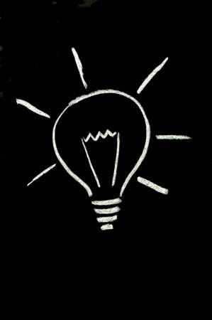 Chalk lightbulb on blackboard