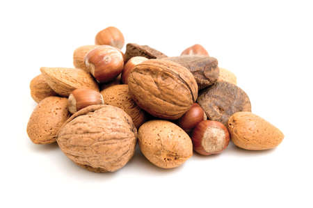 A Selection of nuts on a white background