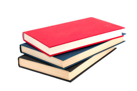 Stack of three books isolated on white