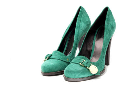 Womens Green Suede high Heel Shoes on white background