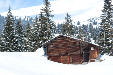 Swiss Barn in Winter Stock Photo