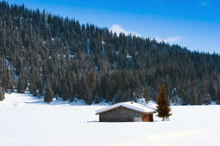 Swiss Barn in Winter photo