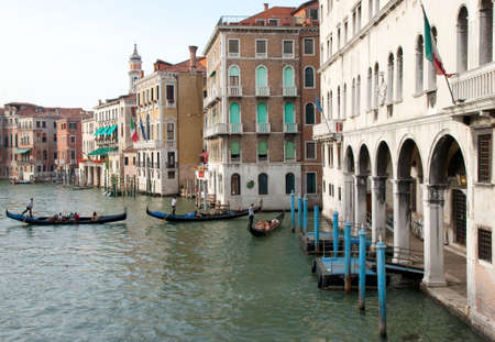 Three Gondalos on the Grand Canal in Venice